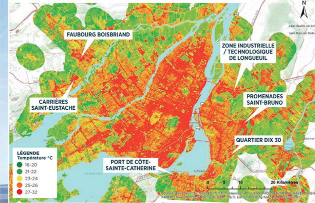 Distribution de la température de surface pour la ville de Montréal